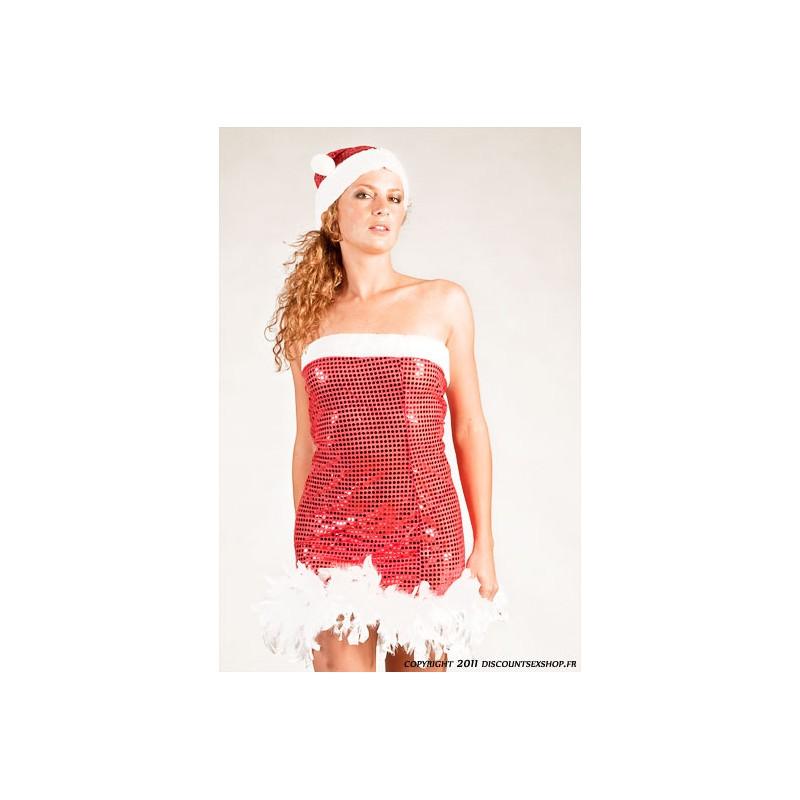 Costume robe de no l sexy rouge et blanc discount pas cher for Robe de noel rouge