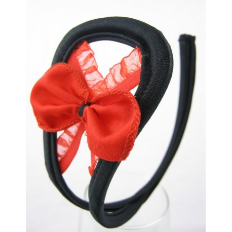 Sextoys, sexshop, loveshop, lingerie sexy : C-String : C-String Sexy Petits Nœuds Rouge