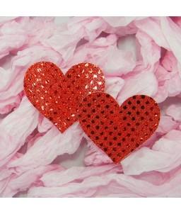 Cache tétons coeur pailleté rouge