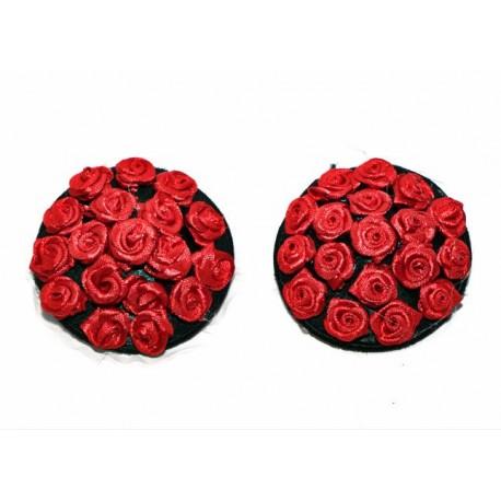 Sextoys, sexshop, loveshop, lingerie sexy : Nippies Cache Seins : Nippies burlesque noir avec roses rouge