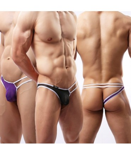 Sextoys, sexshop, loveshop, lingerie sexy : Boxers & Strings : String Sexy Homme Blanc à Lanière violet Taille XL
