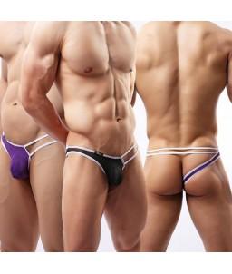 Sextoys, sexshop, loveshop, lingerie sexy : Boxers & Strings : String Sexy Homme Blanc à Lanière violet Taille M