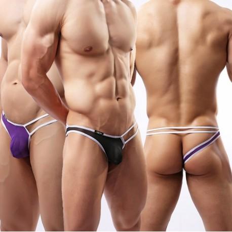 Sextoys, sexshop, loveshop, lingerie sexy : Boxers & Strings : String Sexy Homme Blanc à Lanière violet Taille L