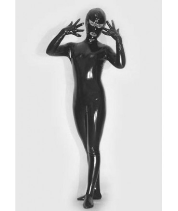 Sextoys, sexshop, loveshop, lingerie sexy : Cagoules SM : Taille M Catsuit combinaison simili cuir vinyl BDSM avec cagoule Femme