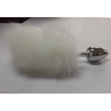 Sextoys, sexshop, loveshop, lingerie sexy : Plug Anal : Plug Anal en Inox Queue de Lapin Bunny Blanc Taille M