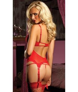 """Sextoys, sexshop, loveshop, lingerie sexy : Bodys & Teddys : Corset Sexy rouge et dentelle """"M"""""""