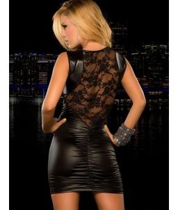 Sextoys, sexshop, loveshop, lingerie sexy : Robes sexy : mini robe vinyle et dentelle sans manche