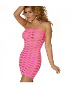 Sextoys, sexshop, loveshop, lingerie sexy : Robes sexy : mini robe sexy en résille rose