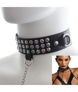 Sextoys, sexshop, loveshop, lingerie sexy : Colliers : Collier de soumission Cuir noir avec sa laisse en acier