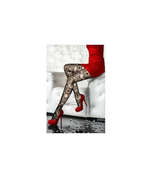 Sextoys, sexshop, loveshop, lingerie sexy : Bas & Collants : Sexy Collant Résille Noir motif fleur 8182