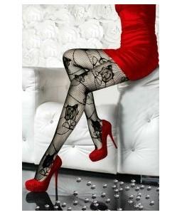 Sextoys, sexshop, loveshop, lingerie sexy : Bas & Collants : Sexy Collant Résille Noir motif fleurs 8191