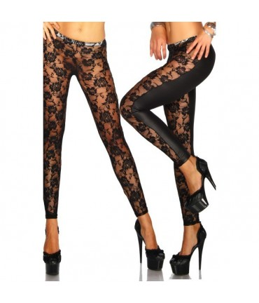 Sextoys, sexshop, loveshop, lingerie sexy : Leggings & Tops : Leggings Noir Dentelle