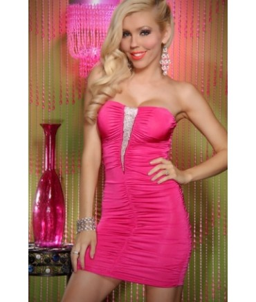 Sextoys, sexshop, loveshop, lingerie sexy : Clubwear / Tenues Sexy : Mini Robe Tube Soirée Cocktail Sexy rose