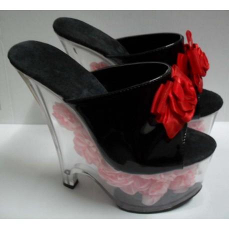 Sextoys, sexshop, loveshop, lingerie sexy : Chaussures : Chaussure Drag Queen Sexy Noire avec Fleurs Rouges