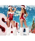 """Sextoys, sexshop, loveshop, lingerie sexy : Deguisement noel sexy : Combinaison short Sexy \\""""Mère Noël\\"""""""