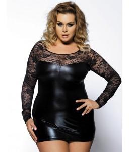 Sextoys, sexshop, loveshop, lingerie sexy : Lingerie sexy grande taille : Mini Robe Sexy Noire Vinyle et Dentelle Manches Lon...