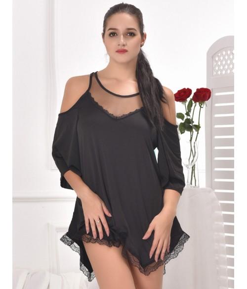 Sextoys, sexshop, loveshop, lingerie sexy : Leggings & Tops : tunique sexy noir taille M