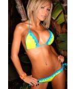 Sextoys, sexshop, loveshop, lingerie sexy : Maillot de bain et bikini : Sexy Bikini jaune dentelle bleu