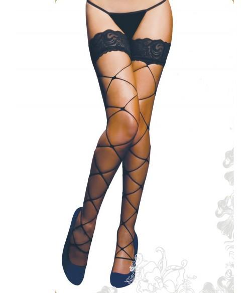 Sextoys, sexshop, loveshop, lingerie sexy : Bas & Collants : Sexy Bas Voile Noir fantaisie