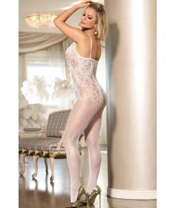 Sextoys, sexshop, loveshop, lingerie sexy : Combinaisons : Combinaison résille blanche sexy TU