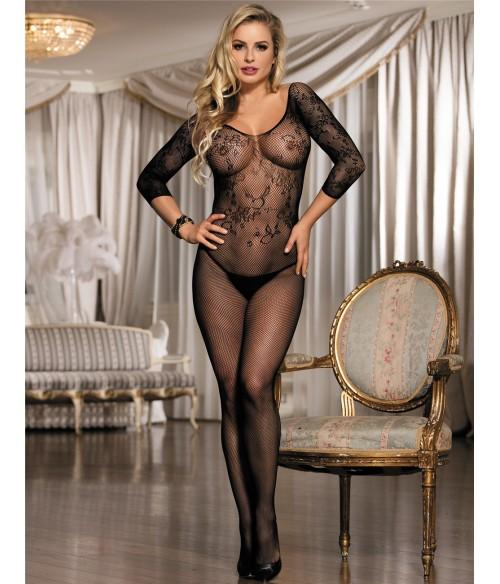 Sextoys, sexshop, loveshop, lingerie sexy : Combinaisons : Combinaison sexy résille noire ouverte à l'entrejambe