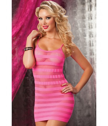 Sextoys, sexshop, loveshop, lingerie sexy : Clubwear / Tenues Sexy : Robe Sexy Lingerie Maille rose