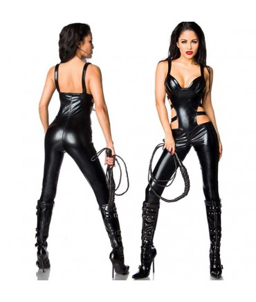 Sextoys, sexshop, loveshop, lingerie sexy : Lingerie Style Cuir & Vinyle Femme : Sexy Combinaison Noire Vinyle