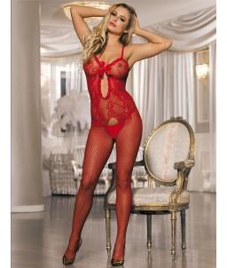Sextoys, sexshop, loveshop, lingerie sexy : Combinaisons : Combinaison résille rouge sexy TU