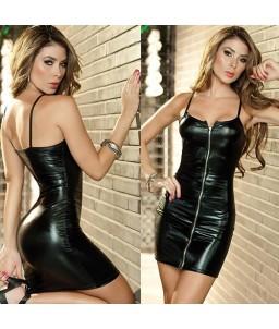 Sextoys, sexshop, loveshop, lingerie sexy : Clubwear / Tenues Sexy : Mini Robe Sexy noir zippé