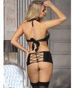 Sextoys, sexshop, loveshop, lingerie sexy : Lingerie Style Cuir & Vinyle Femme : Déshabillé Sexy simili cuir noir