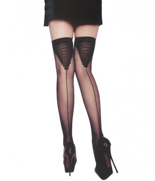 Sextoys, sexshop, loveshop, lingerie sexy : Bas & Collants : Bas voile noir fantaisie sexy