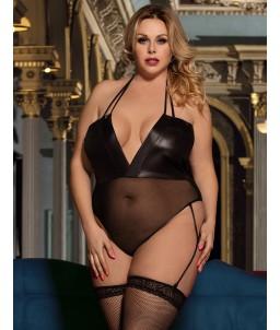 Sextoys, sexshop, loveshop, lingerie sexy : Lingerie sexy grande taille :  Body vinyl Dentelle Sexy XL