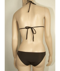 Sextoys, sexshop, loveshop, lingerie sexy : Maillot de bain et bikini : Sexy Bikini Bijou Marron Strass et Anneaux