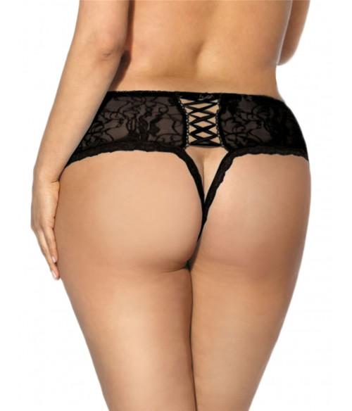 Sextoys, sexshop, loveshop, lingerie sexy : Strings & Boxers : Culotte Lacet sans Entrejambe Noir
