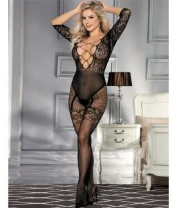 Sextoys, sexshop, loveshop, lingerie sexy : Combinaisons : Combinaison Résille Sexy Manches Longues noir