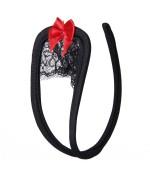 Sextoys, sexshop, loveshop, lingerie sexy : C-String : C-String noir Dentelle et noeud rouge