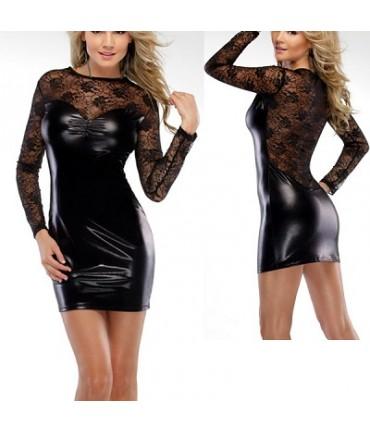 Sextoys, sexshop, loveshop, lingerie sexy : Clubwear / Tenues Sexy : Mini Robe Sexy Noire Vinyle et Dentelle Manches Longues