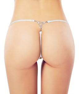 Sextoys, sexshop, loveshop, lingerie sexy : Lingerie sexy grande taille : Sexy String ouvert blanc dentelle XL