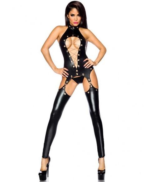 Sextoys, sexshop, loveshop, lingerie sexy : Clubwear / Tenues Sexy : Combinaison Noire ouverte Vinyle M