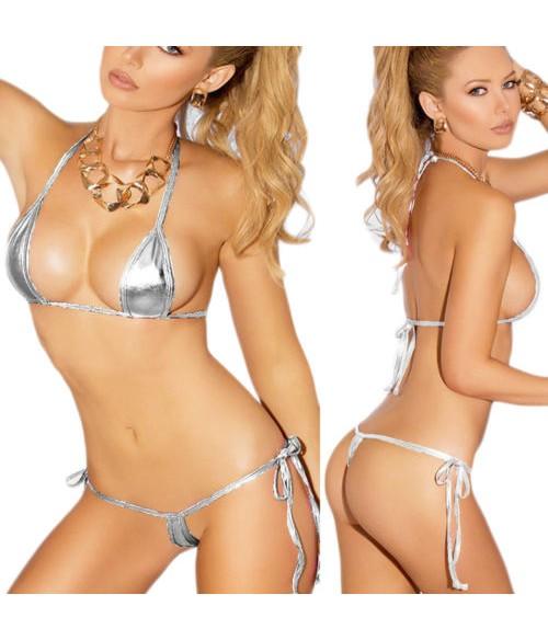 Sextoys, sexshop, loveshop, lingerie sexy : Maillot de bain et bikini : micro Bikini gris sexy
