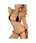 Sextoys, sexshop, loveshop, lingerie sexy : Maillot de bain et bikini : micro Bikini noir sexy