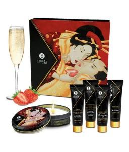 Sextoys, sexshop, loveshop, lingerie sexy : Coffret et Massage : Kit erotic art vin petillant à la fraise Shunga