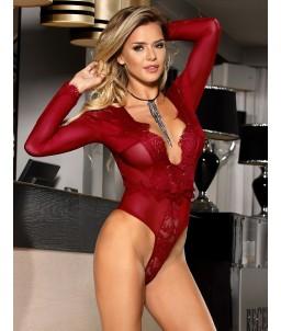 Sextoys, sexshop, loveshop, lingerie sexy : Bodys & Teddys : Body sexy dentelle bordeaux S/M