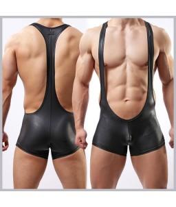 "Sextoys, sexshop, loveshop, lingerie sexy : Boxers & Strings : Ensemble Body Sexy ""M"" Style Cuir"