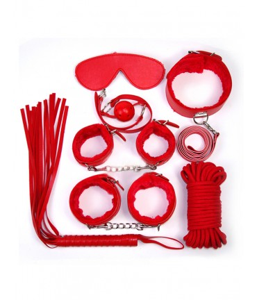 Sextoys, sexshop, loveshop, lingerie sexy : Kit BDSM : Ensemble Fetish Rouge BDSM