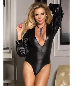 Sextoys, sexshop, loveshop, lingerie sexy : Bodys & Teddys :  Body sexy simili cuir noir S/M