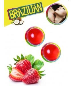 Sextoys, sexshop, loveshop, lingerie sexy : Lubrifiants à Base d'Eau : Boules Bresiliennes Saveur Fraise X2