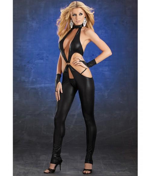 Sextoys, sexshop, loveshop, lingerie sexy : Clubwear / Tenues Sexy : Tenue sexy ouverte en vinyle noir XL