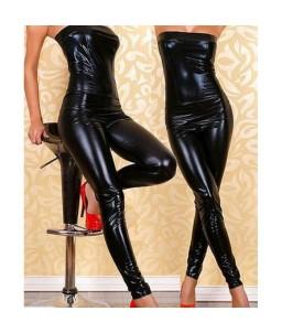 Sextoys, sexshop, loveshop, lingerie sexy : Clubwear / Tenues Sexy :  Combinaison femme en bustier vinyle noir M
