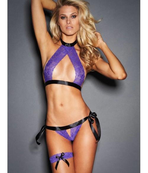 Sextoys, sexshop, loveshop, lingerie sexy : Ensemble lingerie sexy : Sous vetement sexy femme violet TU